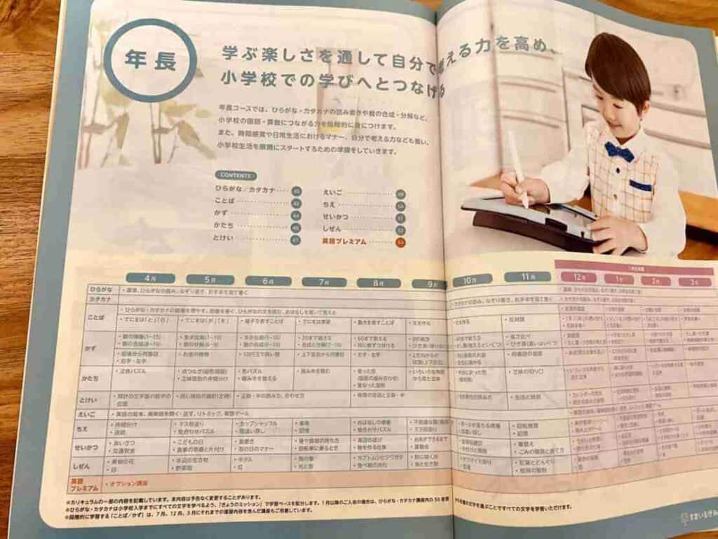 スマイルゼミのパンフレット年間スケジュール